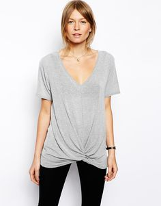 Image 1 of ASOS Top with Slouchy Twist Front