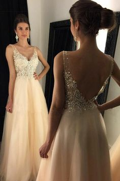 champagne prom party dresses with beaded appliques, fashion backless formal gowns, chic beaded evening dresses.