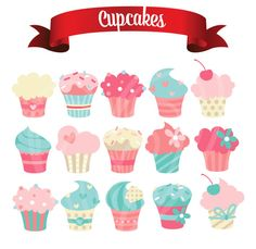 Polka Dot Cupcake Clip Art Set - colorful printable digital ...