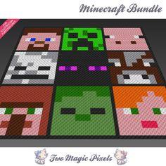 9x Minecraft graph crochet blanket pattern; knitting, cross stitch graph; pdf…