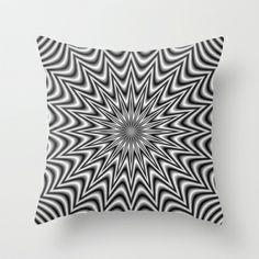 Monochrome Star Throw Pillow by Objowl