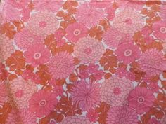 Vintage 1970's Poly-Cotton Fabric Osman Big Pink Daisies in Collectables, Sewing/ Fabric/ Textiles, Fabric/ Textiles, Vintage/ Retro (Pre-1980) | eBay