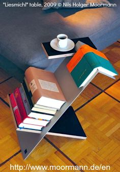 """Liesmichl"" table, 2009 © Nils Holger Moormann (Designer, Germany). Book shelf, book mark, & coffee table! http://www.moormann.de/fileadmin/Sedcard/LIESMICHL_Sedcard.pdf  ... Caption crediting the artist required by  law. Link directly to the artist's website.  HOW TO FIND the ORIGINAL WEB SITE of an image: http://pinterest.com/pin/86975836525507659/ COPYRIGHT LAW REQUIREMENTS: http://pinterest.com/pin/86975836525792650/  The Golden Rule: http://pinterest.com/pin/86975836525355452/"