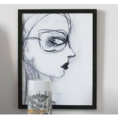 Charcoal Girl With Glasses Artwork,$350.00