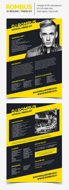 ProDJ - DJ Press Kit \/ Rider \/ Resume PSD Template - Resumes - dj resume