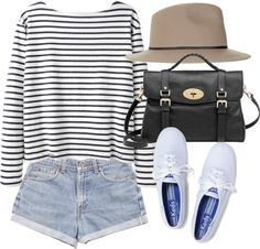 Long sleeved black and white striped shirt, light wash high waisted shorts, white keds, black leather bag and sun hat. (this link is crap) Casual Outfits, Summer Outfits, Cute Outfits, Fashion Outfits, Womens Fashion, Estilo Fashion, Models, Summer Wardrobe, Dress To Impress