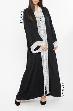 Rafia Lace Trim Open Abaya