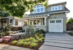 Architecture Inspiration. The Legendary Craftman Style Homes In Designs And Pictures: Well Liked White Wooden Garage Doors With Grey Wall Ex...