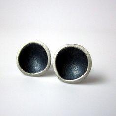 silver stud earrings modern organic tidal pool by sarawestermark