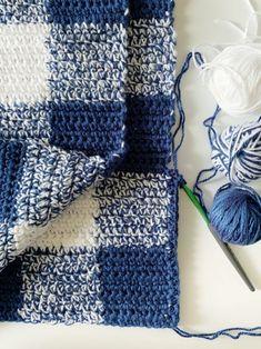 Navy Gingham Baby Blanket Crochet Pattern - Free - A More Crafty Life Crochet Baby Blanket Free Pattern, Free Crochet, Knit Crochet, Crochet Daisy, Crochet Afgans, Crochet Blankets, Crotchet, Afghan Crochet Patterns, Crochet Stitches