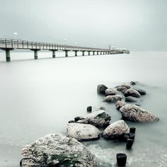 ✮ Bridge on sea and rock in Germany - Cool Pic!