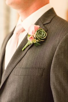 Succulents + Roses | #Boutonnieres | The Groom | Chelsea Elizabeth Photography