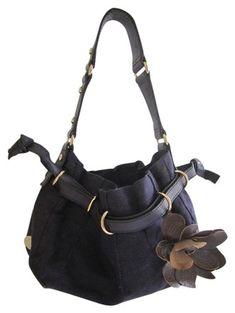5cbf691f021e Céline Floral Applique Handbag Royal Blue Linen and Leather Hobo Bag 70% off  retail