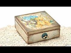 Decoupage pudełko z misiem -DIY tutorial - YouTube