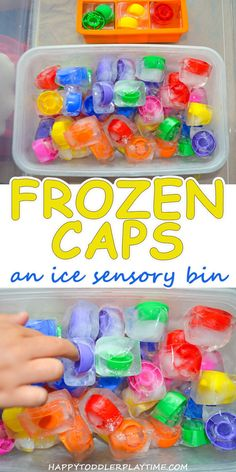 Frozen Caps - HAPPY TODDLER PLAYTIME Here is a fun way to play with squeeze food pouch lids - freeze them! This creates a colorful activity perfect for toddlers and preschoolers. Use them to learn colors or in pretend play! Baby Sensory Play, Sensory Activities Toddlers, Infant Activities, Summer Activities, Baby Play, Sensory Bottles For Toddlers, Young Toddler Activities, Toddler Sensory Bins, Sensory Diet