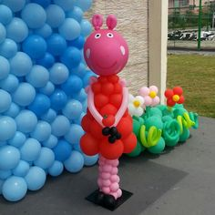 Balloon Ideas, Balloon Decorations, Birthday Party Decorations, Balloon Birthday, Pig Birthday, Peppa Pig Balloons, Clown Party, Four Square, Sculptures