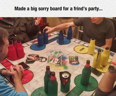 Homemade Sorry board for drinking games!