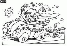Just Married Car Clip Art - Coloring Ideas Wedding Prep, Wedding With Kids, Plan Your Wedding, Wedding Tips, Wedding Bride, Wedding Ceremony, Emoji Coloring Pages, Coloring Pages For Kids, Coloring Books