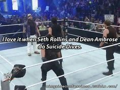 """I love it when Seth Rollins and Dean Ambrose do Suicide Dives."""