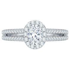 Double Shank with Diamond Halo Diamond Promezza Oval Center Engagement Ring