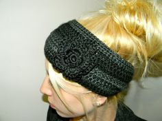 Grey and Black Crochet Headband! Must have for winter!
