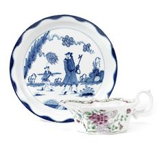A Bow plate and a sauceboat, circa 1760 The shallow plate with a narrow rim, painted in blue with the 'Golfer and Caddy' pattern, a man walking in a Chinese landscape attended by a boy, a wavy line border inside the rim, 20cm diam, (spur marks on rim), the sauceboat of flat-bottomed form with an acanthus leaf moulded below the spout, painted in famille rose style with a peony and rockwork, a formal border inside the rim, 15.7cm long