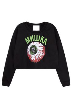 Eyeball Graphic Cropped Sweatshirt - OASAP.com on Wanelo