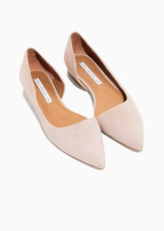 & Other Stories image 2 of Asymmetric Suede Ballerina in Pale pink