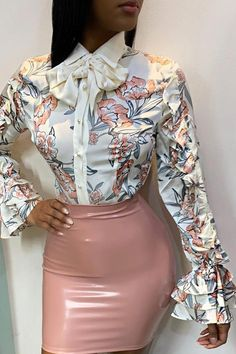 Blouses & Shirts – Page 2 – shyfull Bell Sleeve Shirt, Satin Bluse, Work Attire, Classy Outfits, Fashion Outfits, Womens Fashion, Cheap Fashion, Fashion Ideas, Fashion Prints