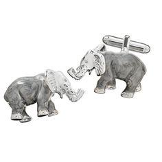 Hyde Park Sterling Silver Elephant Cufflinks