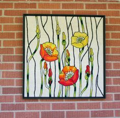 Vintage Large Framed Embroidered Poppy Textile Art by tracinicole, $85.00