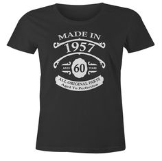 60th Birthday Gift T-Shirt - Born In 1957 - Vintage Aged 60 Years To Perfection - Short Sleeve - Womens - Black - XXX-Large T Shirt - (2017 Version)