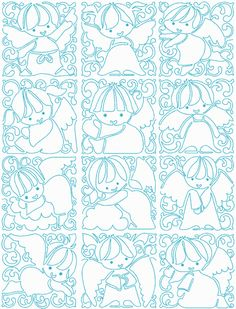 Continuous Line Christmas Angel Blocks