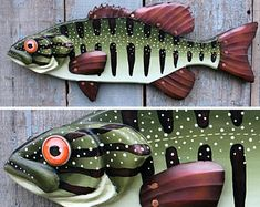 Colorful Perch Wood and Copper Folk Art Fish Wall Art 23 Folk Art Fish, Fish Wall Art, Fish Art, Fish Sculpture, Wall Sculptures, Fish Crafts, Palette, Painting On Wood, Unique Gifts