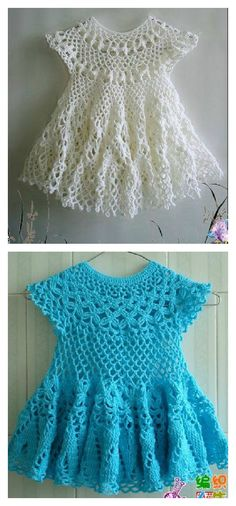 Crochet Baby Girl 20 Crochet Girl Dress with Free Pattern - 20 free crochet girl dress patterns that will make any crafter and her little girl proud. Any of the free patterns looks great. Crochet Girls Dress Pattern, Girl Dress Patterns, Baby Girl Crochet, Crochet Baby Clothes, Crochet For Kids, Baby Patterns, Crochet Lace, Crochet Patterns, Crochet Baby Dresses