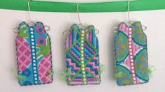 Lilly inspired needlepoint shifts.  Great ornament idea.