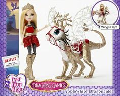 Apple White Dragon Rider Dragon Games Ever After High Doll with Dragon, 2015 Ever After High, Barbie 80s, Ever After Dolls, Dragon Games, Dragon Rider, Cartoon Crossovers, Bratz Doll, White Dragon, New Dolls