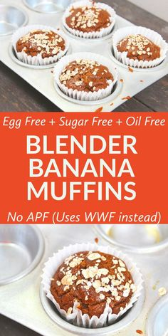 free and Oil free Whole Wheat Banana Oats Muffins - These blender banana m. -Sugar free and Oil free Whole Wheat Banana Oats Muffins - These blender banana m. Healthy Muffin Recipes, Healthy Cake, Healthy Muffins, Healthy Baking, Snack Recipes, Cupcake Recipes, Easy Recipes, Healthy Food, Flour Recipes