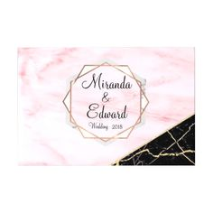 Rose Gold and Black Marble Geometric Wedding Guest Book