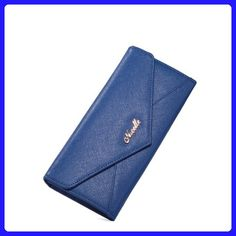 Nucelle Macaron Series Candy Color Envelope Women's Leather Bifold Long Wallet & Purse (Blue) - Wallets (*Amazon Partner-Link)
