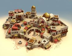 Bazaar city block in the market district. 3d Fantasy, Fantasy World, Fantasy Setting, Minecraft Designs, Minecraft Houses, Minecraft Medieval, Environment Concept Art, Environment Design, Minecraft Welten