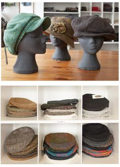 Handwoven Hats for men & women. Berets, Donegal, Yoko, Beanies, Hats For Men, Tweed, Hand Weaving, Accessories, Women