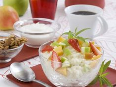 Panna Cotta, Fruit Salad, Cantaloupe, Breakfast, Ethnic Recipes, Food, Diet, Morning Coffee, Dulce De Leche