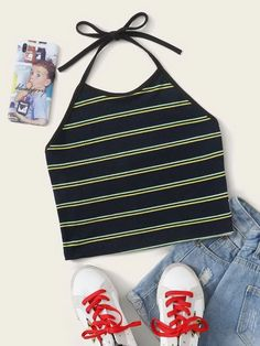 Shop Striped Crop Halter Top at ROMWE, discover more fashion styles online. Light Blue Shorts, Halter Crop Top, Top P, Crop Tops, Tank Tops, Fashion News, Shopping Bag, Clothes For Women, Outerwear Women