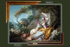 Canvas framed print, Jean-Honoré Fragonard_The Shepherdess, giclee canvas, gold framed, nameplate by GoldFramedCanvas on Etsy