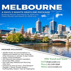 4D3N MELBOURNE GRAYLINE PACKAGE (Land Arrangement Only) Minimum of 2 persons to travel  For more inquiries please call: Landline: (+63 2)282-6848 Mobile: (+63) 918-238-9506 or Email us: info@travelph.com #Melbourne #Australia #TravelPH #TravelWithNoWorries Melbourne Australia, Australia Travel, Round Trip, Tours, Night, Australia Destinations
