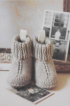 Sød strik til baby - Nuttede små støvler