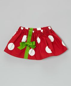 Look at this Caught Ya Lookin' Red & Green Ribbon Skirt - Infant & Toddler on #zulily today!