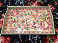 ViNTAGE Large Shabby Chic broken china, jewels, hand pieced mosaic tray