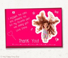 """Pink thank you card, doll favor card, girl birthday party, doodle thank you  - PRINTABLE, 4""""x6"""""""